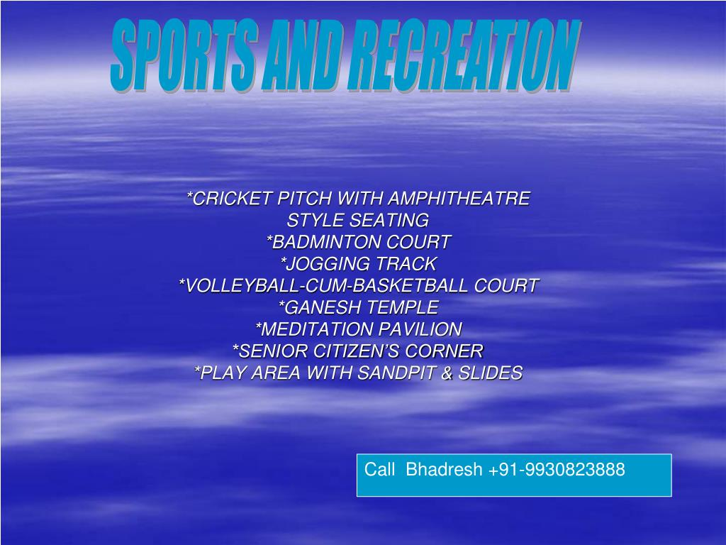 *CRICKET PITCH WITH AMPHITHEATRE