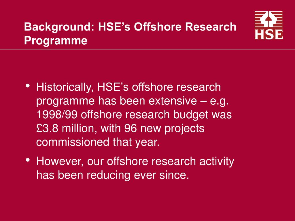 Background: HSE's Offshore Research Programme
