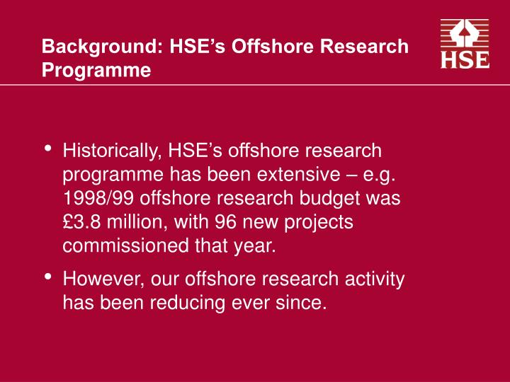 Background hse s offshore research programme