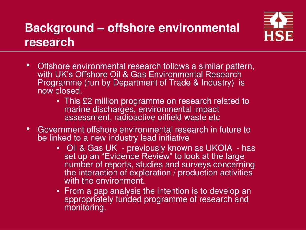 Background – offshore environmental research