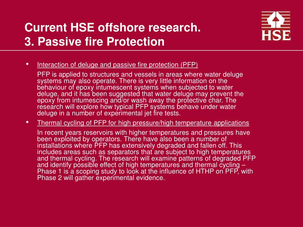 Current HSE offshore research.