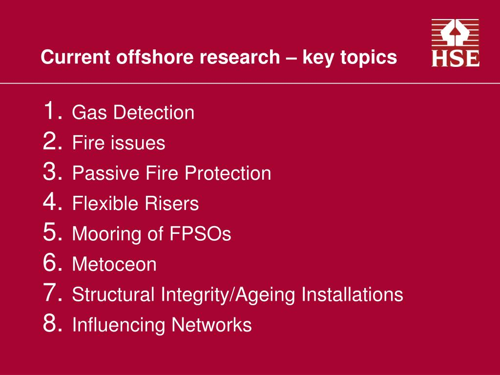 Current offshore research – key topics