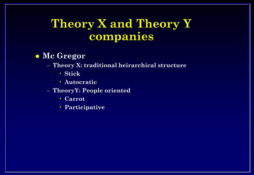 Theory X and Theory Y companies
