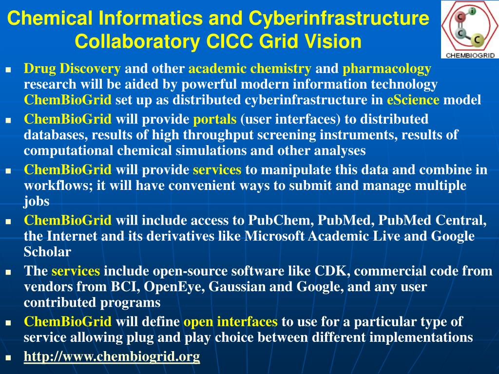 Chemical Informatics and Cyberinfrastructure Collaboratory CICC Grid Vision