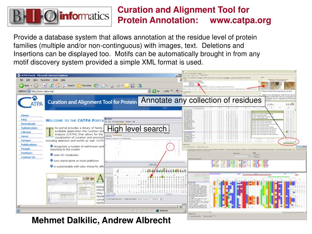 Provide a database system that allows annotation at the residue level of protein families (multiple and/or non-continguous) with images, text.  Deletions and Insertions can be displayed too.  Motifs can be automatically brought in from any motif discovery system provided a simple XML format is used.