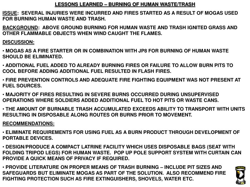 LESSONS LEARNED – BURNING OF HUMAN WASTE/TRASH