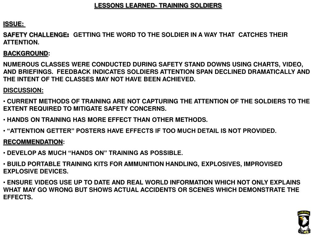LESSONS LEARNED- TRAINING SOLDIERS