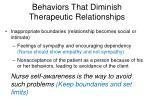 behaviors that diminish therapeutic relationships