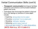 verbal communication skills cont d