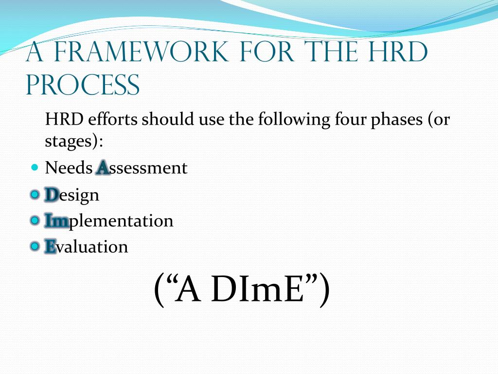 """hrd process steps Chapter 4 (hrd needs assessment) no description  the hrd process: a dime levels of assessment why is needs assessment information critical to the development and delivery of an effective hrd program what is a """"need""""  first step in hrd process models organizational/strategic where is training needed and under what conditions."""