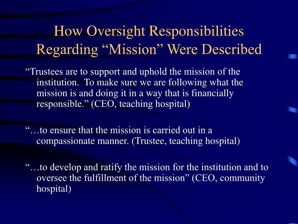 How Oversight Responsibilities