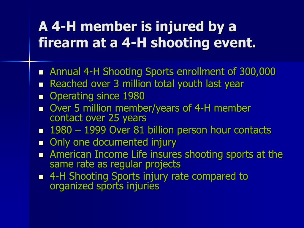 A 4-H member is injured by a firearm at a 4-H shooting event.