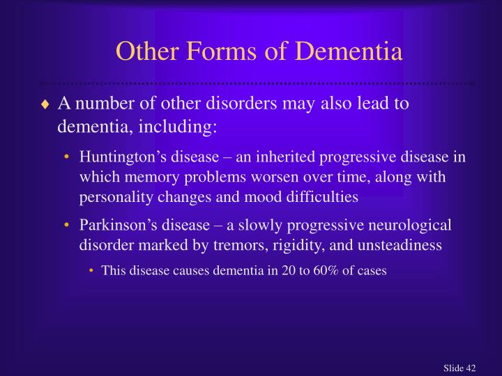 Other Forms of Dementia
