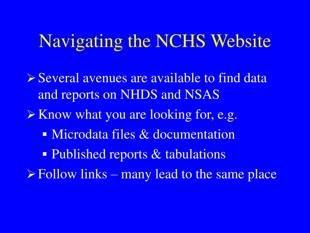 Navigating the NCHS Website