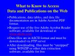 what to know to access data and publications on the web
