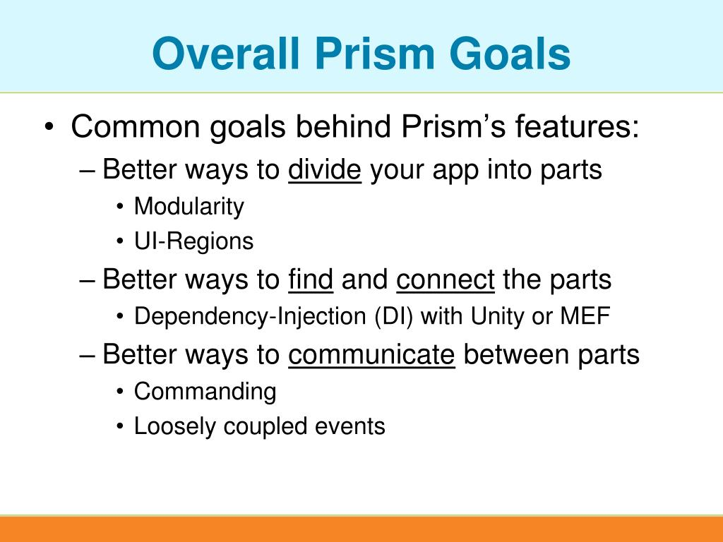 Overall Prism Goals