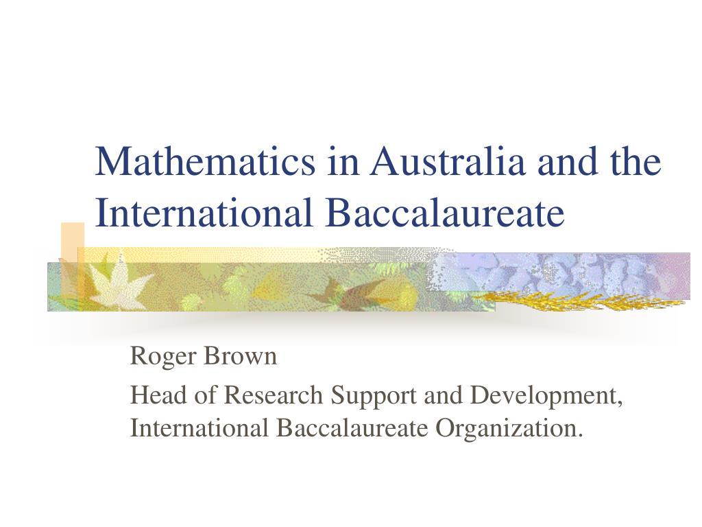 mathematics in australia and the international baccalaureate