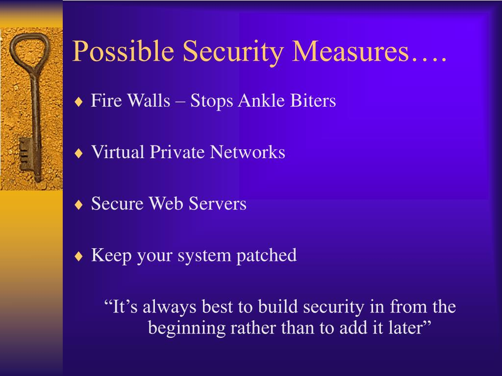 Possible Security Measures….