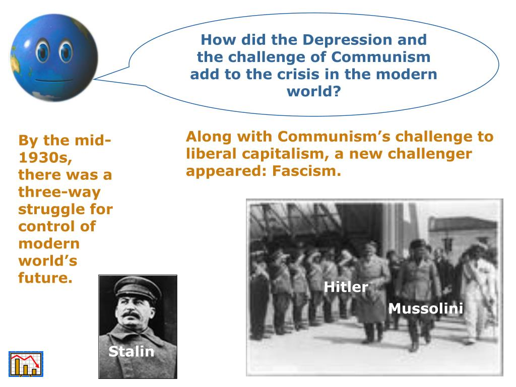 How did the Depression and the challenge of Communism add to the crisis in the modern world?