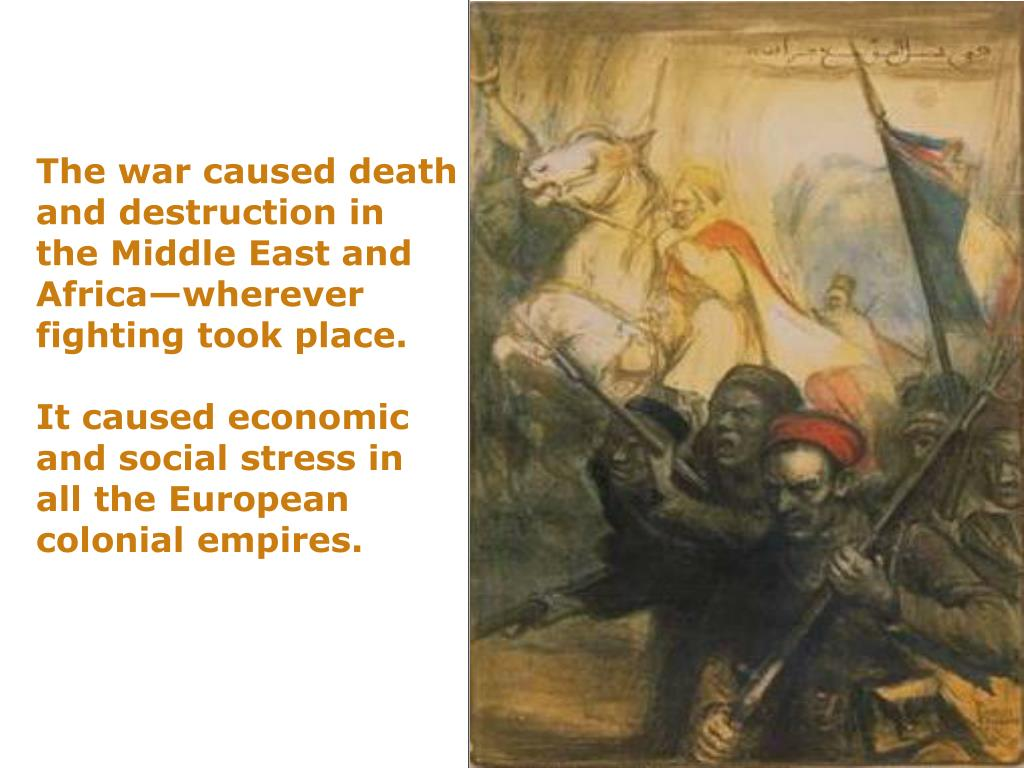 The war caused death and destruction in the Middle East and Africa—wherever  fighting took place.