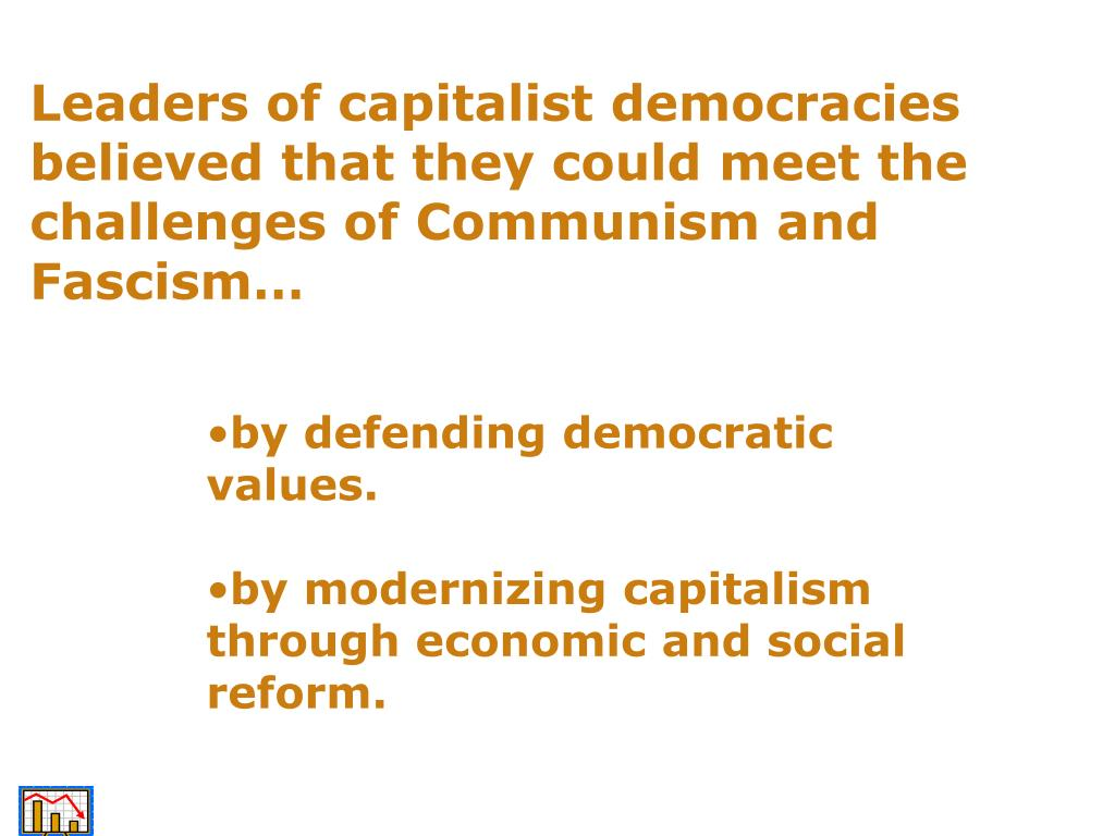 Leaders of capitalist democracies believed that they could meet the challenges of Communism and Fascism…