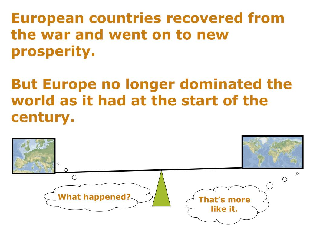 European countries recovered from the war and went on to new prosperity.
