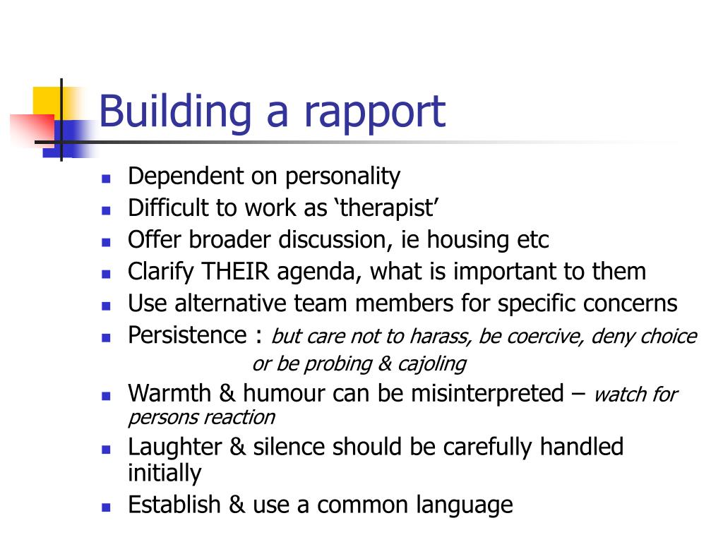 Building a rapport