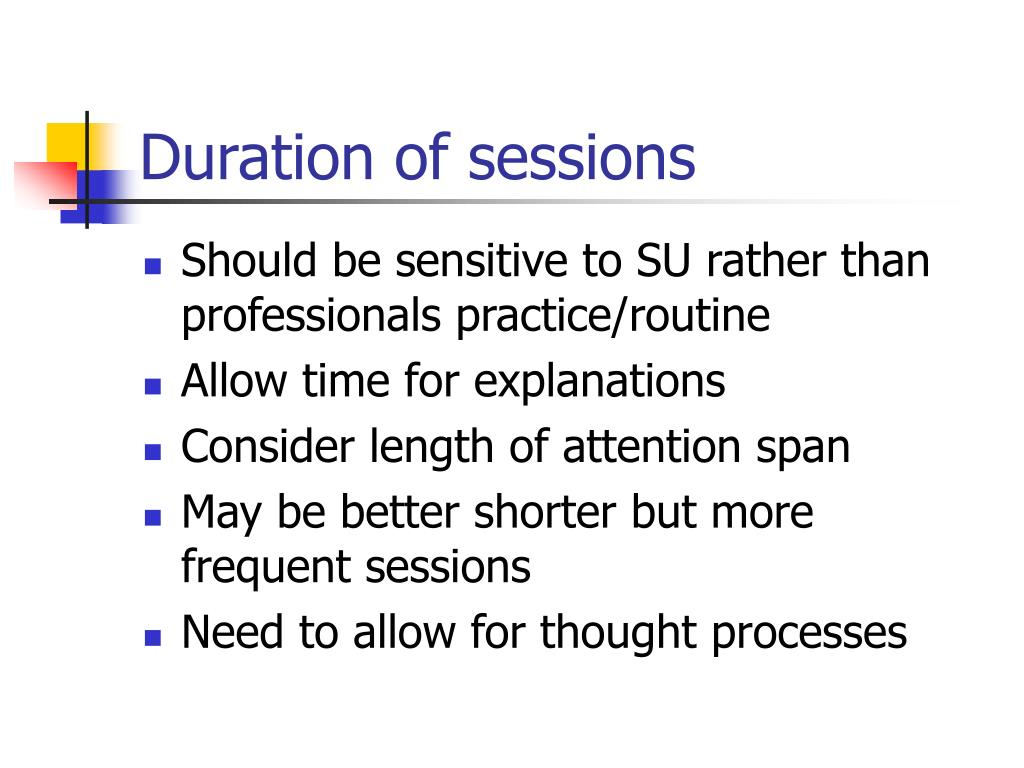 Duration of sessions