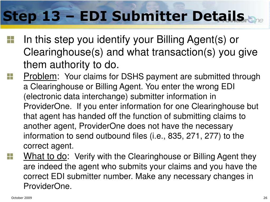 Step 13 – EDI Submitter Details