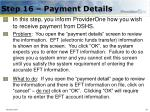 step 16 payment details