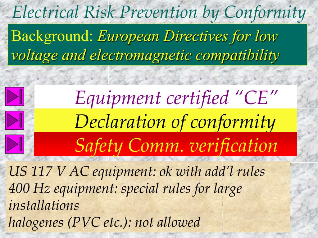 Electrical Risk Prevention by Conformity