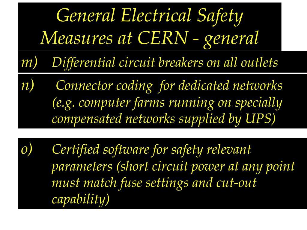 General Electrical Safety Measures at CERN - general
