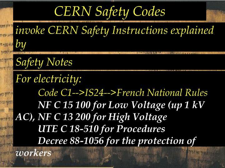 CERN Safety Codes