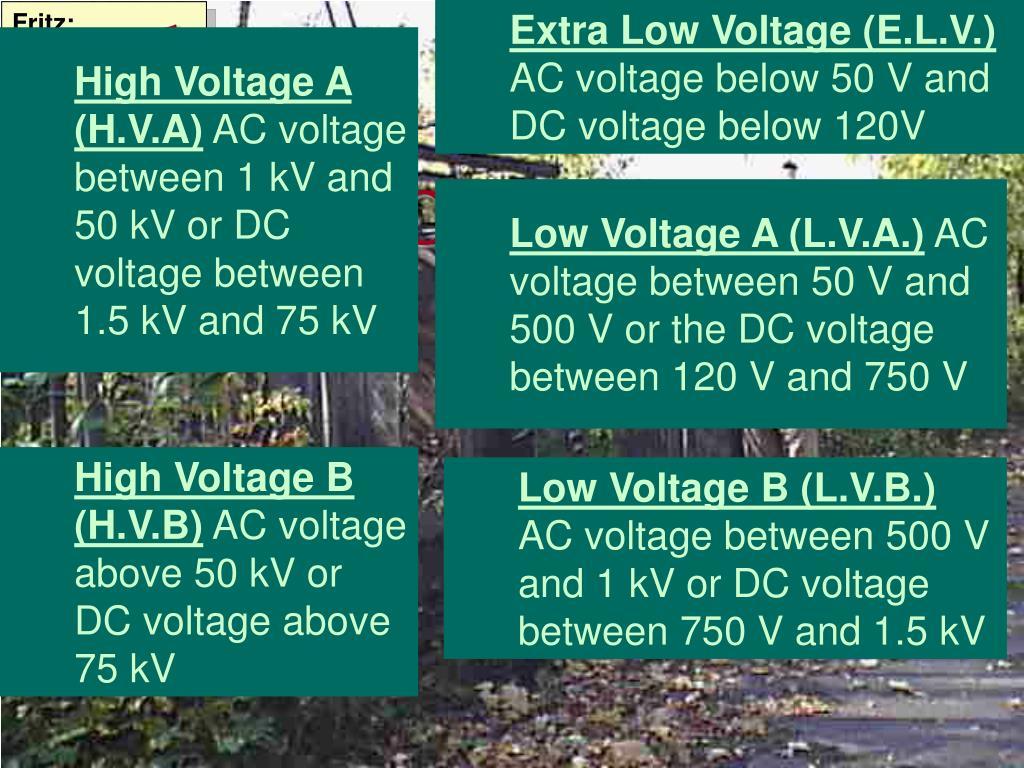Extra Low Voltage (E.L.V.)