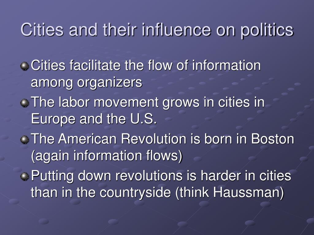 Cities and their influence on politics