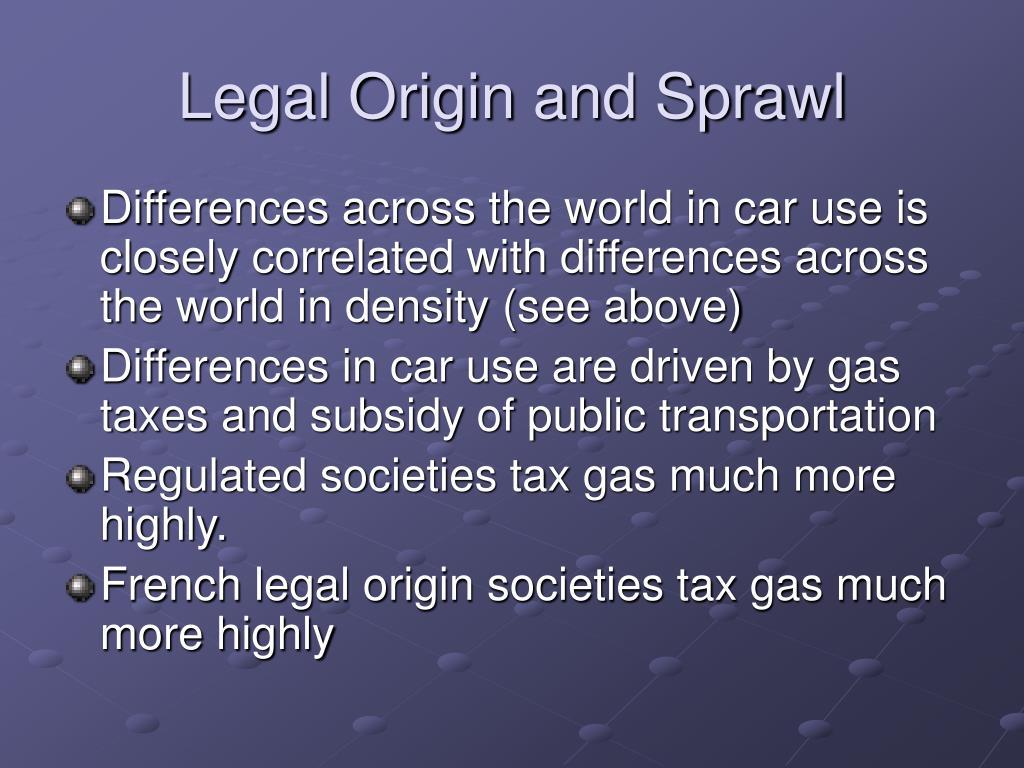 Legal Origin and Sprawl