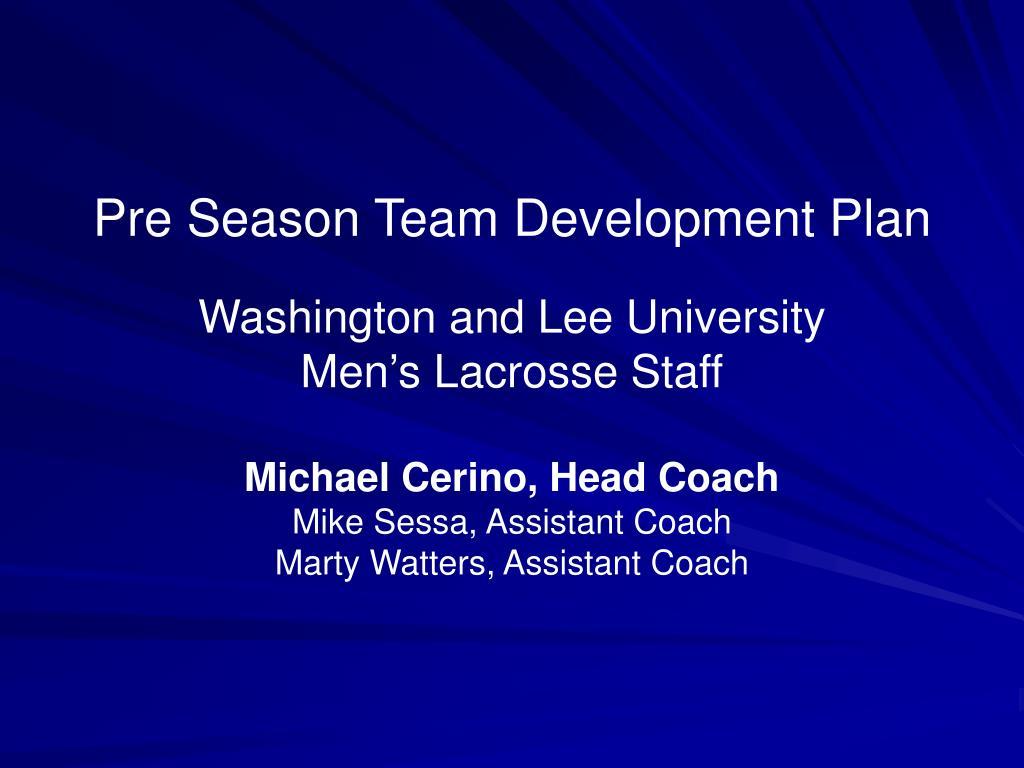Pre Season Team Development Plan