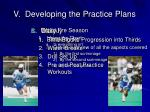 v developing the practice plans