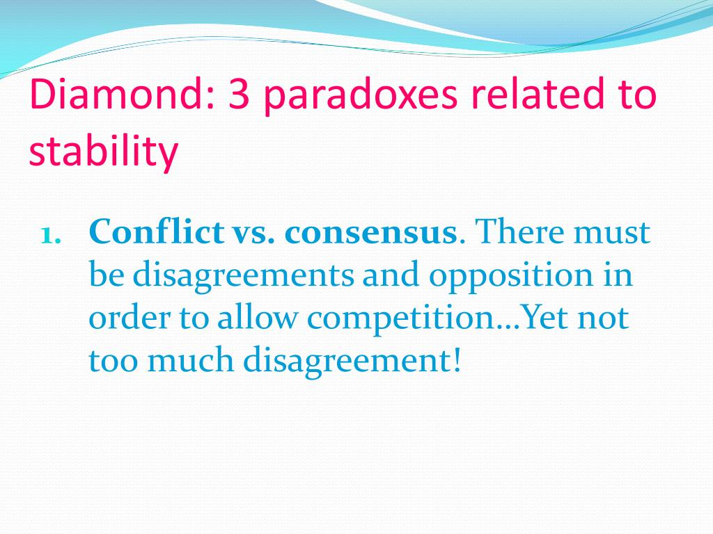 Diamond: 3 paradoxes related to stability