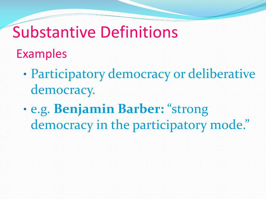 Substantive Definitions