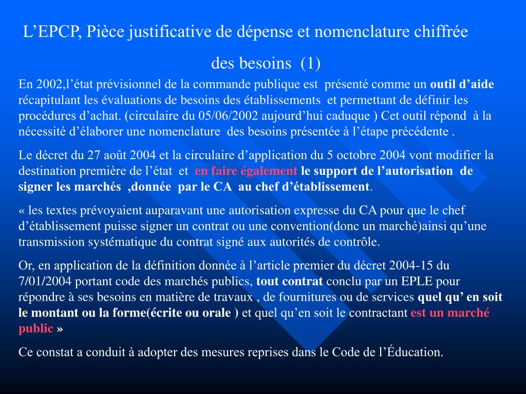 L'EPCP, Pièce justificative de dépense et nomenclature chiffrée