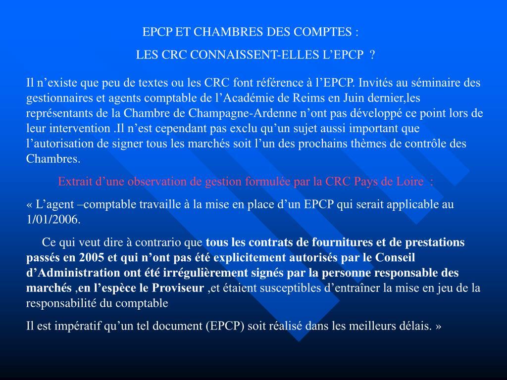 EPCP ET CHAMBRES DES COMPTES :