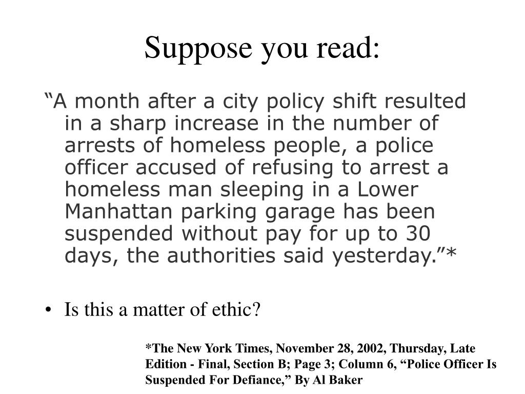 Suppose you read: