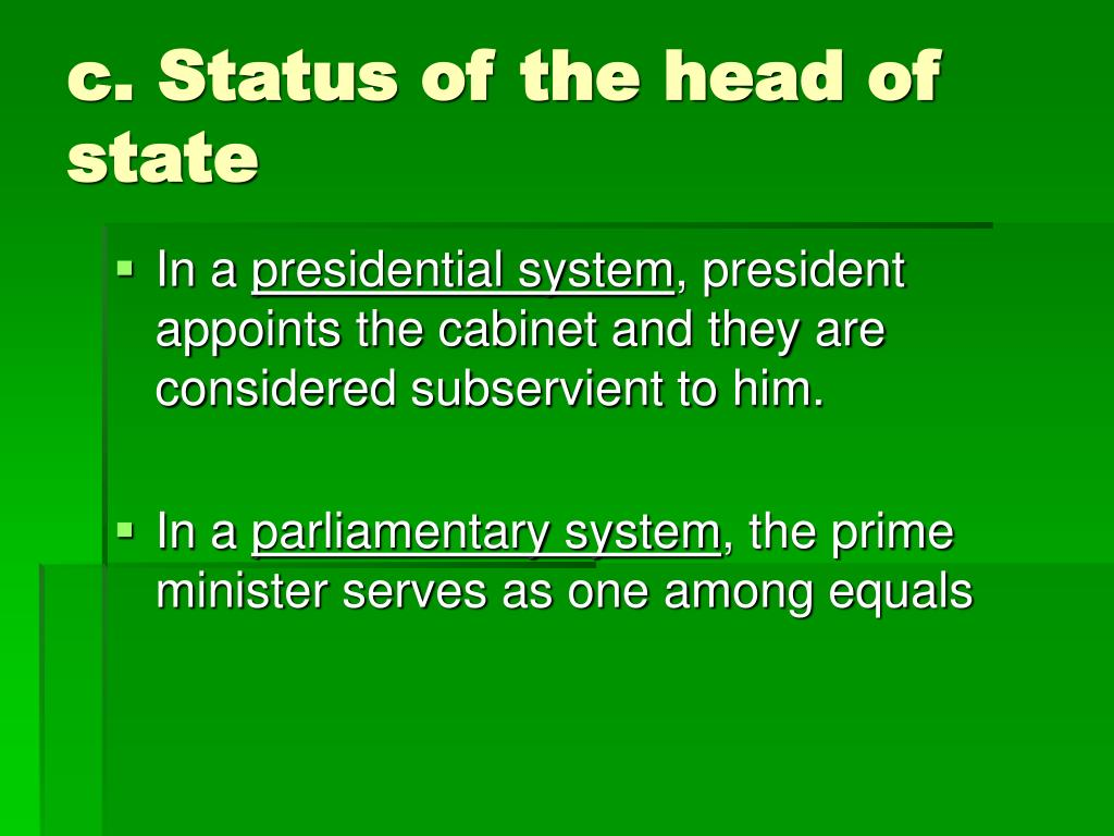 c. Status of the head of state