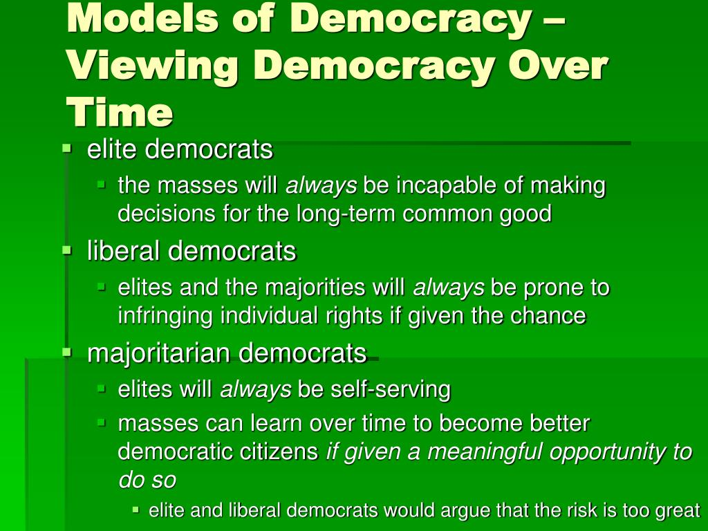Models of Democracy – Viewing Democracy Over Time