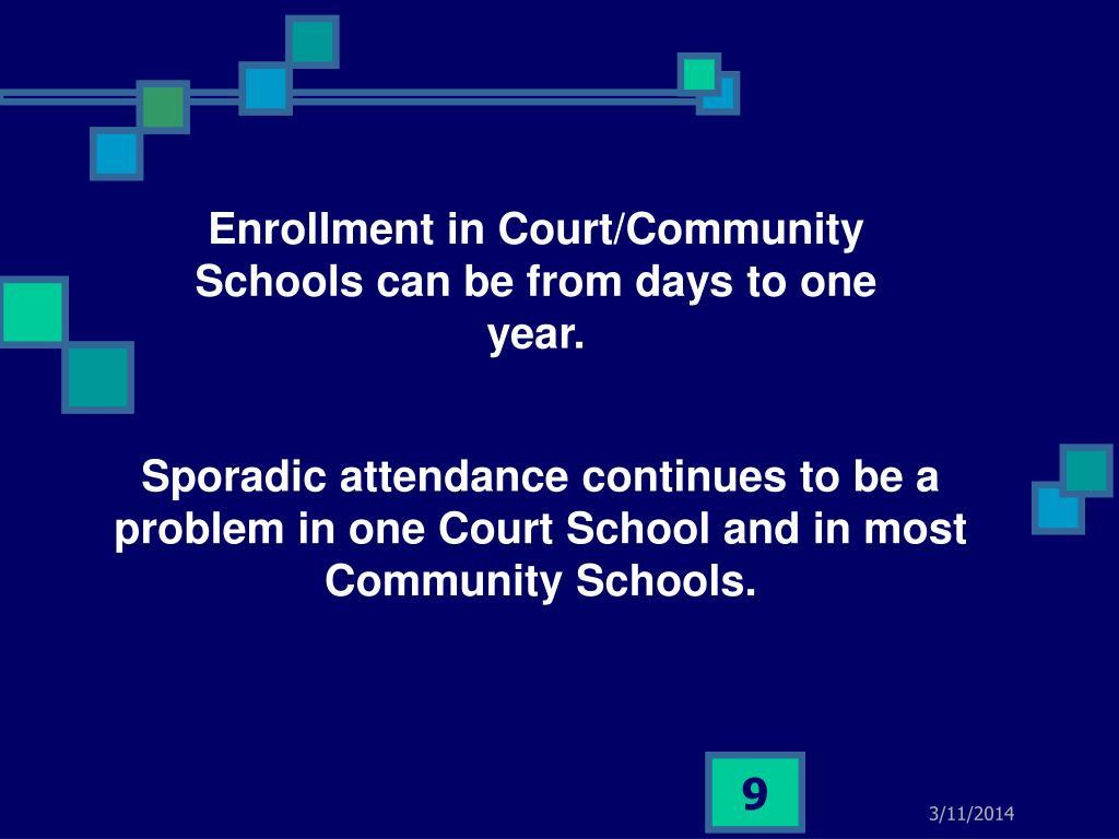 Enrollment in Court/Community Schools can be from days to one year.