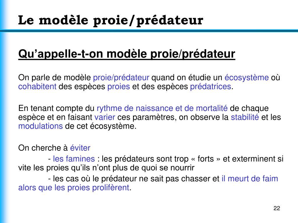 Le modèle proie/prédateur