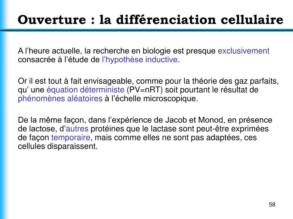 Ouverture : la différenciation cellulaire