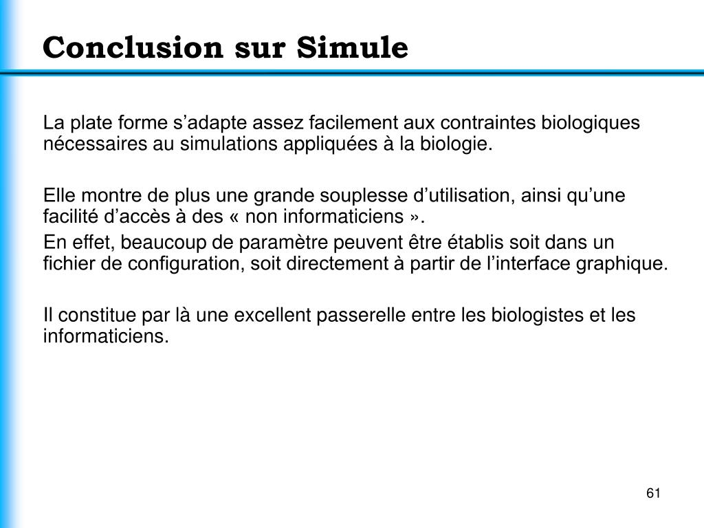 Conclusion sur Simule