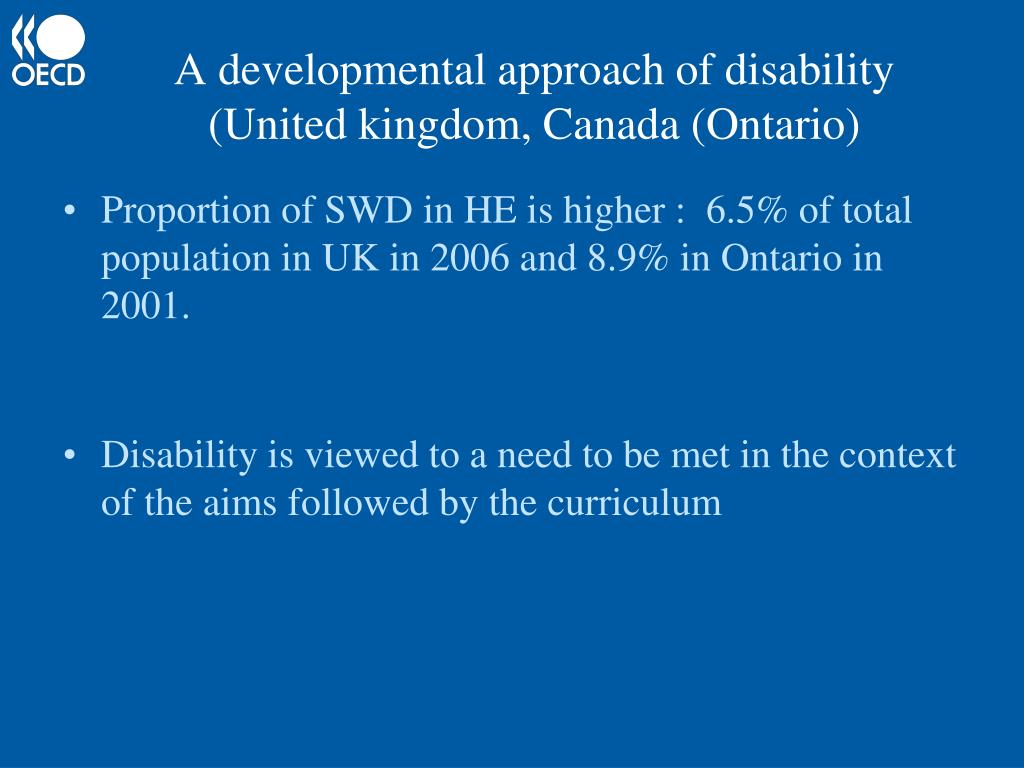 A developmental approach of disability (United kingdom, Canada (Ontario)